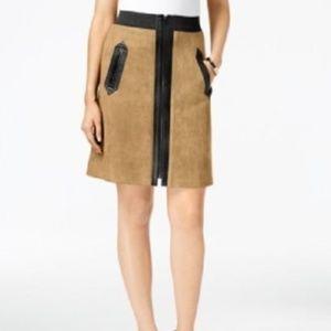Eci XL Light Calf Brown Faux-Suede Mixed Skirt